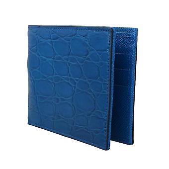محفظة تمساح كايمان الأزرق ثنائي الحظيرة