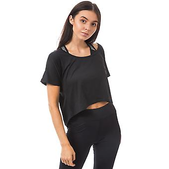 Women's Tokyo Laundry Ellie Cross Over Back Cropped Sports Top in Black