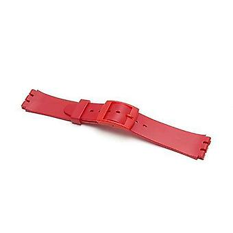 Swatch style resin watch strap red with plastic buckle size 17mm