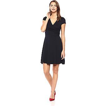 Lark & Ro Frauen's Mütze Ärmel Faux Wrap Fit und Flare Kleid, Marine, Größe Medium