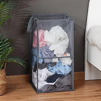 X Shape Foldable Dirty Laundry Large Capacity Basket Organizer with Printed Collapsible Three Grid Design
