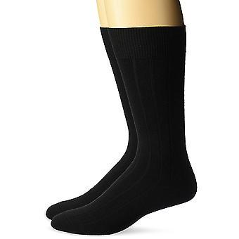 BUTTONED DOWN Men's 2-Pack Merino Wool Dress Socks, Black, Shoe Size: 8-12