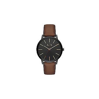 Armani Exchange Hombres 'Cayde' Round Black Dial Brown Nubuck Strap Watch AX2706