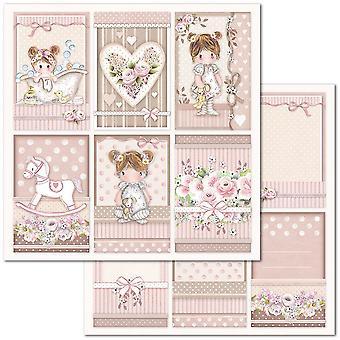 Stamperia kleine Mädchen Rahmen 12 x 12 Zoll Papierblätter (10pcs) (SBB679)