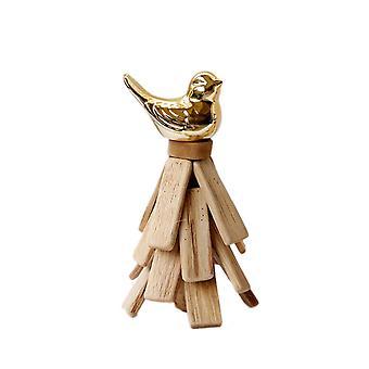 Wooden and Ceramic Handmade Bird Deration Golden 10X10X18.5CM