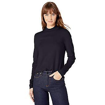 Lark & Ro Women's Warm Handed Synthetic Mock Neck Sweater, Dark Navy,Small