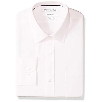 Essentials Erkek ve apos;ince-fit kırışıklık-dayanıklı uzun kollu elbise gömlek, L...