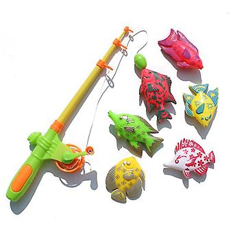 Magnetic Fishing Toys For Children 6 Kinds Of Fish + 1 Fishing Rod Set Growing Puzzle Fishing Game Parent-child Toy