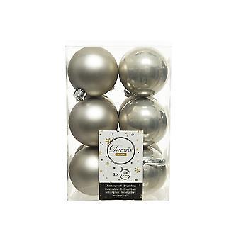 12 Misty Grey 6cm Shatterproof Kerstboom Decoraties