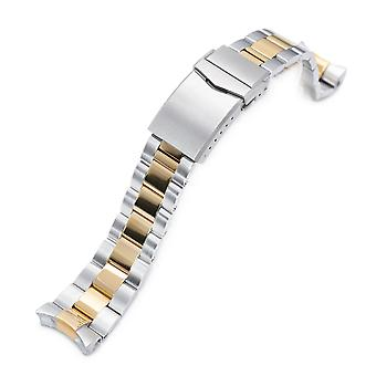 Strapcode watch bracelet 22mm super-o boyer 316l stainless steel watch band for seiko skx007, two tone ip gold v-clasp