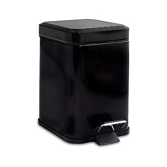 Square Steel Bathroom Pedal Bin with Removable Inner Bucket, 3 Litres - Black