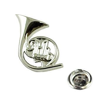 Ties Planet Silver Français Horn Musical Instrument Lapel Pin Badge - Rhodium Plaqué