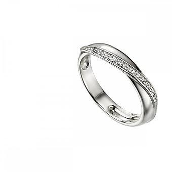 Begynnelse Sterling sølv Twisted wrap pave ring R3700C