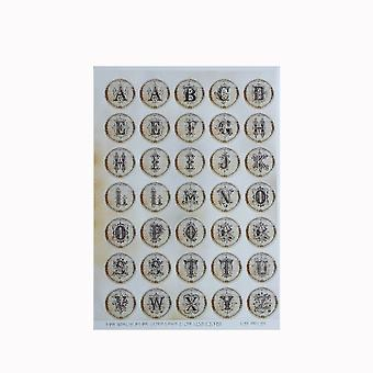 Letters Sticker Sheet Alphabet Ornate A - Z - 35 Stickers - Old Fashioned Vintage Circular