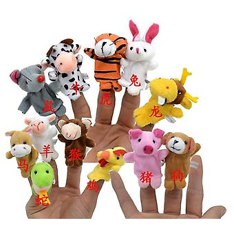 High Quality Chinese Zodiac Signs Animaux Cartoon Biological Finger Puppet