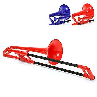 Pbone mini plastic trombone met mondstuk en dragen tas kinderen beginnende kinderen - rood