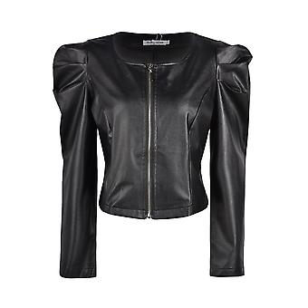 Fashion Pu Leather Jackets With Zipper - Outerwear Long Sleeve, O Neck