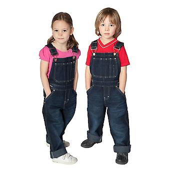 Girls & boys denim dungarees kids bib overalls - darkwash