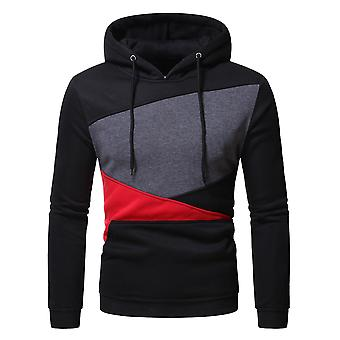 Yunyun Men's Casual Color Block Hooded Cozy Pullover Sport Outwear Sweatshirt