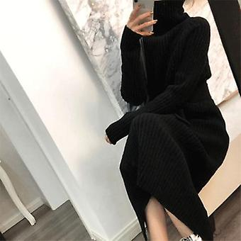 Women's Turtleneck Long Sweater, Autumn And Winter Loose Thickened Dress,