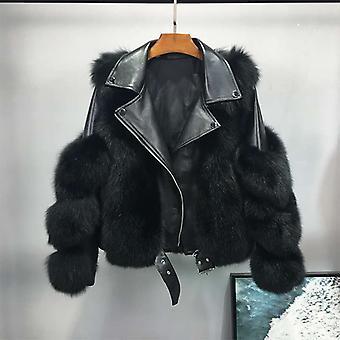Women's Jacket, Winter Fox Artificial Fur Coats, Leather Female Parkas, Plus