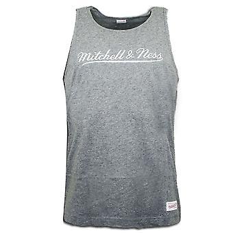 Mitchell & Ness Sleeveless Gym Vest Mens Tank Top Grey TANK TEEHEATHER
