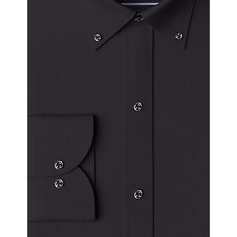 "BUTTONED DOWN Men's Slim Fit Button Collar Solid Pocket Options, Black 16"" Neck 35"" Sleeve"