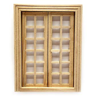 Dolls House Bare Wood Internal Double French Doors 1:24 Half Scale Diy Builders