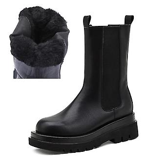 Women Platform Chunky Winter Mid-calf Ankle Boots Fur Thick Heel