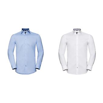 Russell Collection Mens Long Sleeve Contrast Herringbone Shirt