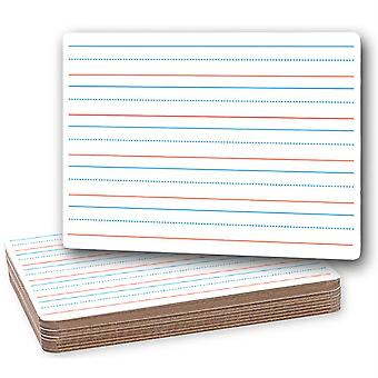 """Two-Sided Dry Erase Board, Plain/Ruled, 9"""" X 12"""", Classpack Of 12"""