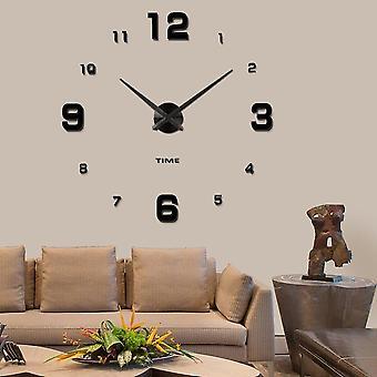 Moderno muto fai-da-fieno grande orologio da parete 3d specchio adesivo metallo grandi orologi decorazioni per l'ufficio domestico