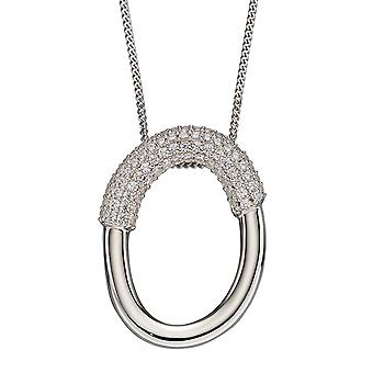 Fiorelli Silver Womens 925 Sterling Silver Rhodium Plated Cubic Zirconia Open Circle Pendant Necklace 41cm + 5cm