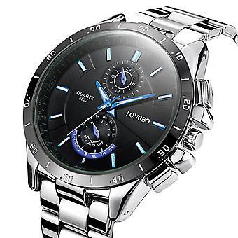 LONGBO 8833 Mænd Watch lysende rustfrit stål Fashion Casual Quartz Armbåndsur