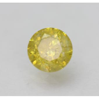 Cert 0.64 Carat Vivid Yellow SI2 Round Brilliant Enhanced Natural Diamond 5.35mm