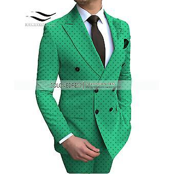 Men's Bleiseri ja housut hääjuhliin, puku kaksinkertainen rinta säännöllinen istuvuus
