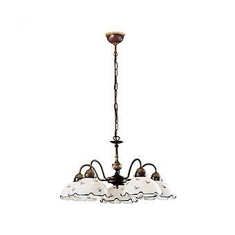Lámpara De Araña Nonna De Latón Antiguo, 5 Luces, Cristal Mate