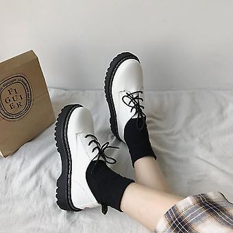 Autumn Women Shoes, Solid Black Leather, Oxford Lace Up High Heels Thick