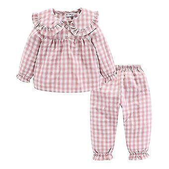 Rüschen Pyjama Set, Peter Pan Kragen niedlich karierten Kinder Sleepwear Anzug