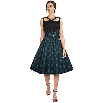 Chic Star Plus Size Retro Bow Dress In Blue/Floral
