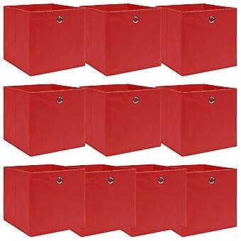 vidaXL Aufbewahrungsboxen 10 Stk. Rot 32×32×32 cm Stoff