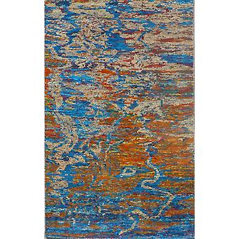 Spura Home Hand Knotted Modern Blue & Orange Abstract Cotton & Silk 5x8 Area Rug