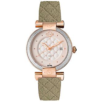 GV2 Berletta Womens White Dial Olive Vegan Quilted Strap Watch