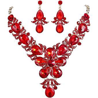 FengChun Strass Kristall Braut Blume Blatt Teardrop Halskette Ohrring Set