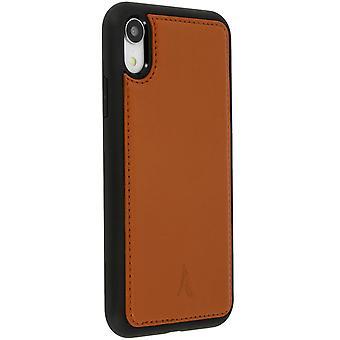 Carcasa protectora iPhone XR rígida de piel auténtica Akashi – Camel