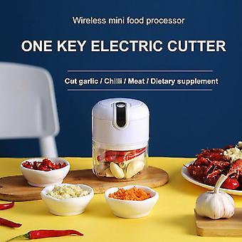 250ml USB Wireless Electric Garlic Masher Mincer Vegetable Chili Meat Grinder Food Chopper(White)