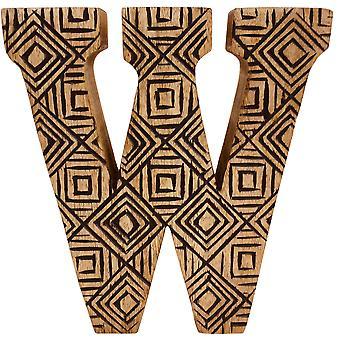 Kirjain W käsin veistetty puinen geometrinen