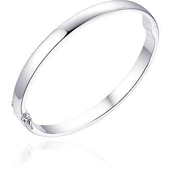 Gisser Jewels - Bracelet - Bangle Solid flat - 6mm Wide - Taille 56 - Gerhodineerd Zilver 925