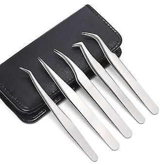 5pcs Stainless Steel Anti Static With Leather Case Grafting |Eyelash Tweezers(Mirror Light)