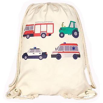 Kinder Turnbeutel - beidseitig Bedruckt mit 4 Feuerwehr, Traktor, Krankenwagen & Polizei -